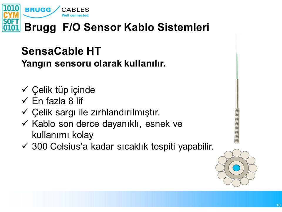10 Brugg F/O Sensor Kablo Sistemleri SensaCable HT Yangın sensoru olarak kullanılır. Çelik tüp içinde En fazla 8 lif Çelik sargı ile zırhlandırılmıştı