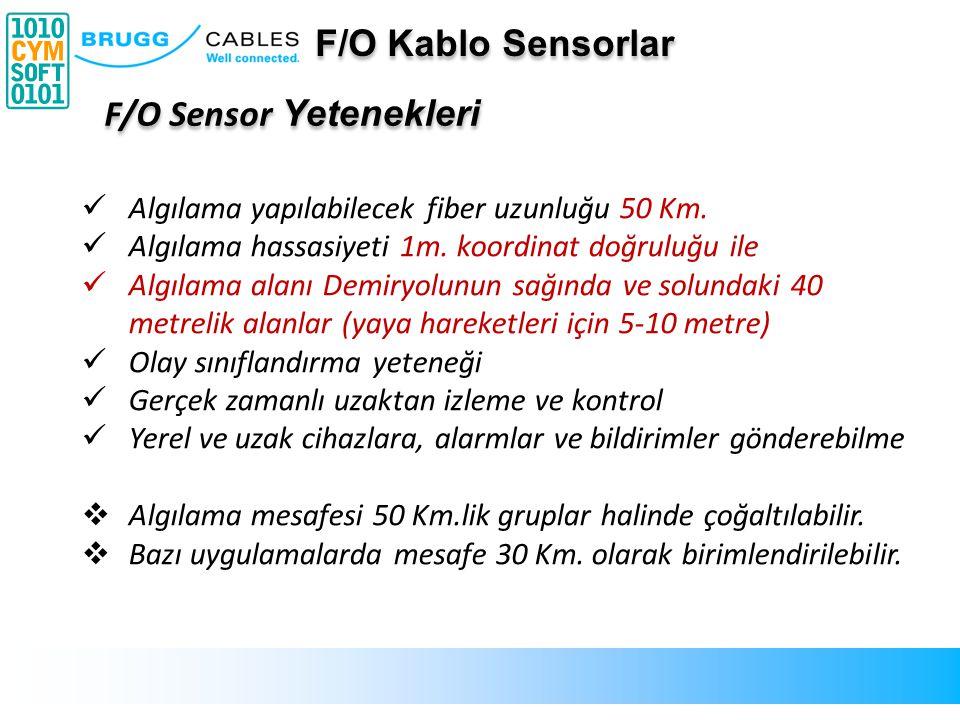 F/O Sensor Yetenekleri Algılama yapılabilecek fiber uzunluğu 50 Km. Algılama hassasiyeti 1m. koordinat doğruluğu ile Algılama alanı Demiryolunun sağın