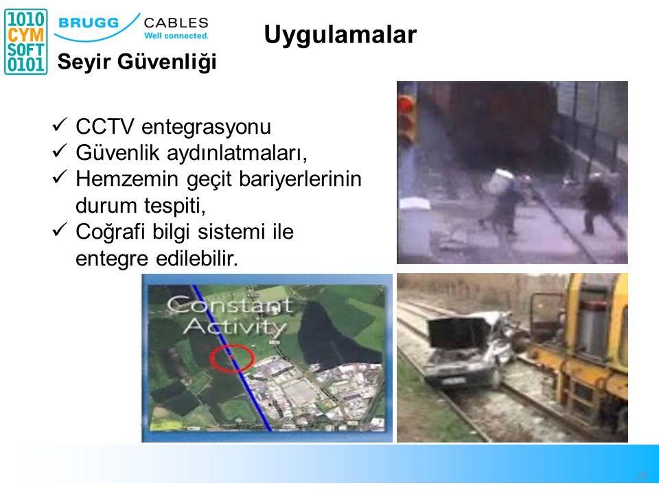 25 CCTV entegrasyonu Güvenlik aydınlatmaları, Hemzemin geçit bariyerlerinin durum tespiti, Coğrafi bilgi sistemi ile entegre edilebilir. Uygulamalar S