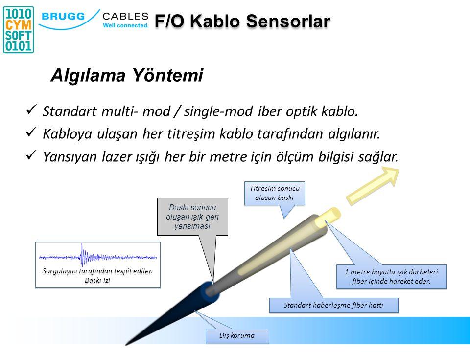 Sorgulayıcı tarafından tespit edilen Baskı izi Backscatter light caused by compression 1 metre boyutlu ışık darbeleri fiber içinde hareket eder. Stand