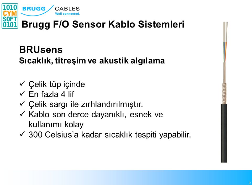 10 Brugg F/O Sensor Kablo Sistemleri SensaCable HT Yangın sensoru olarak kullanılır.