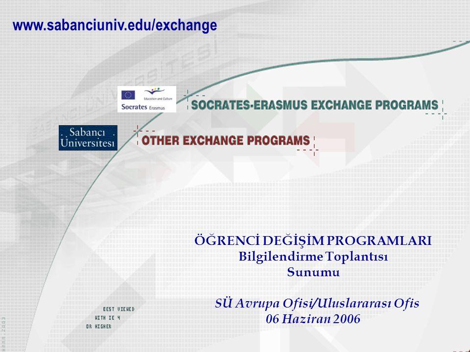 SÜ Avrupa Ofisi/Uluslararası Ofis 06 Haziran 2006 SÜ Avrupa Ofisi/Uluslararası Ofis 06 Haziran 2006 www.sabanciuniv.edu/exchange ÖĞRENCİ DEĞİŞİM PROGR