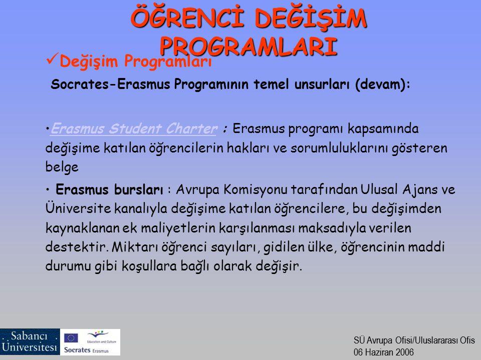 SÜ Avrupa Ofisi/Uluslararası Ofis 06 Haziran 2006 SÜ Avrupa Ofisi/Uluslararası Ofis 06 Haziran 2006 Değişim Programları Socrates-Erasmus Programının t