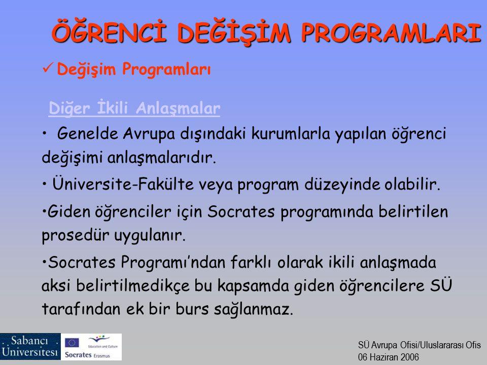 SÜ Avrupa Ofisi/Uluslararası Ofis 06 Haziran 2006 SÜ Avrupa Ofisi/Uluslararası Ofis 06 Haziran 2006 Değişim Programları Diğer İkili Anlaşmalar Genelde Avrupa dışındaki kurumlarla yapılan öğrenci değişimi anlaşmalarıdır.