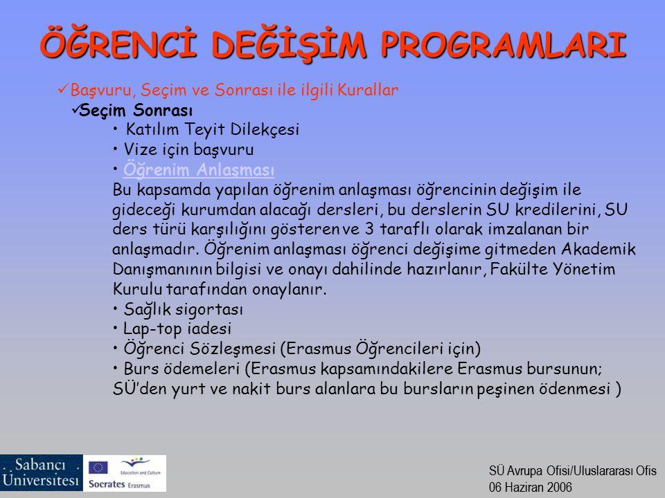 SÜ Avrupa Ofisi/Uluslararası Ofis 06 Haziran 2006 SÜ Avrupa Ofisi/Uluslararası Ofis 06 Haziran 2006 Başvuru, Seçim ve Sonrası ile ilgili Kurallar Seçim Sonrası Katılım Teyit Dilekçesi Vize için başvuru Öğrenim Anlaşması Bu kapsamda yapılan öğrenim anlaşması öğrencinin değişim ile gideceği kurumdan alacağı dersleri, bu derslerin SU kredilerini, SU ders türü karşılığını gösteren ve 3 taraflı olarak imzalanan bir anlaşmadır.