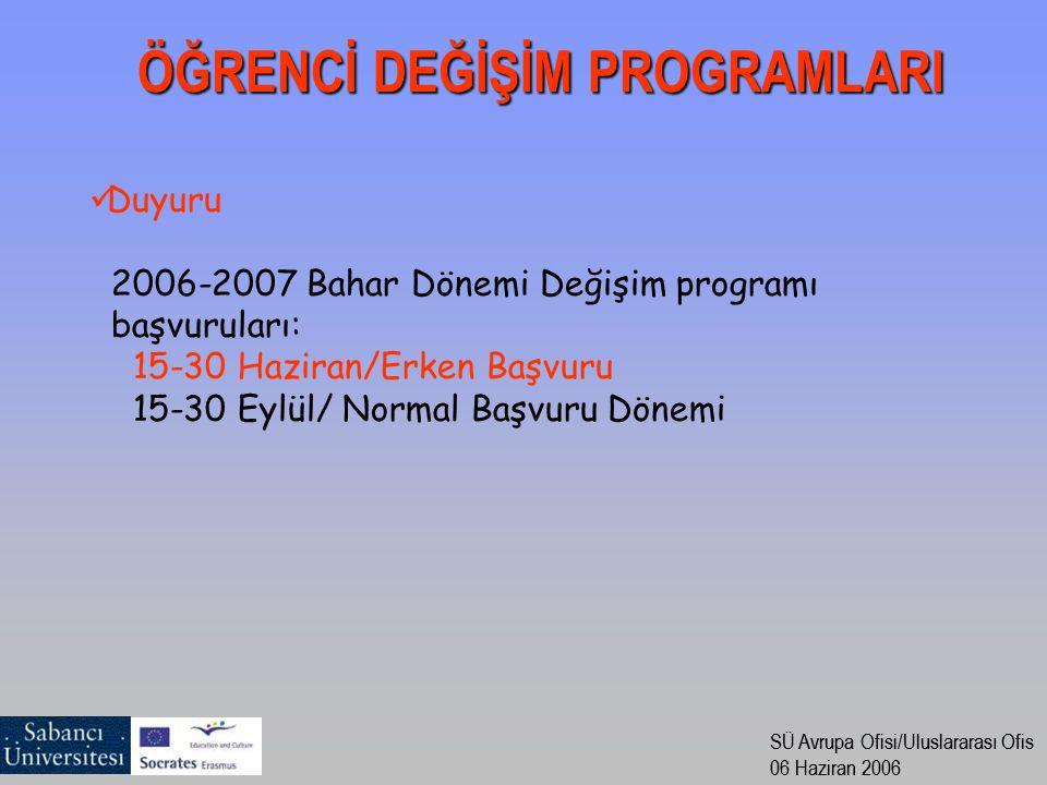 SÜ Avrupa Ofisi/Uluslararası Ofis 06 Haziran 2006 SÜ Avrupa Ofisi/Uluslararası Ofis 06 Haziran 2006 Duyuru 2006-2007 Bahar Dönemi Değişim programı baş