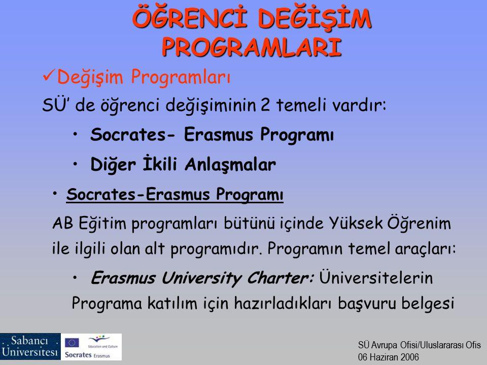 SÜ Avrupa Ofisi/Uluslararası Ofis 06 Haziran 2006 SÜ Avrupa Ofisi/Uluslararası Ofis 06 Haziran 2006 Değişim Programları SÜ' de öğrenci değişiminin 2 temeli vardır: Socrates- Erasmus Programı Diğer İkili Anlaşmalar Socrates-Erasmus Programı AB Eğitim programları bütünü içinde Yüksek Öğrenim ile ilgili olan alt programıdır.
