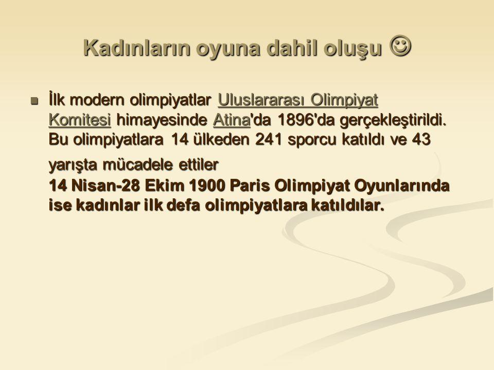 Kadınların oyuna dahil oluşu Kadınların oyuna dahil oluşu İlk modern olimpiyatlar Uluslararası Olimpiyat Komitesi himayesinde Atina da 1896 da gerçekleştirildi.
