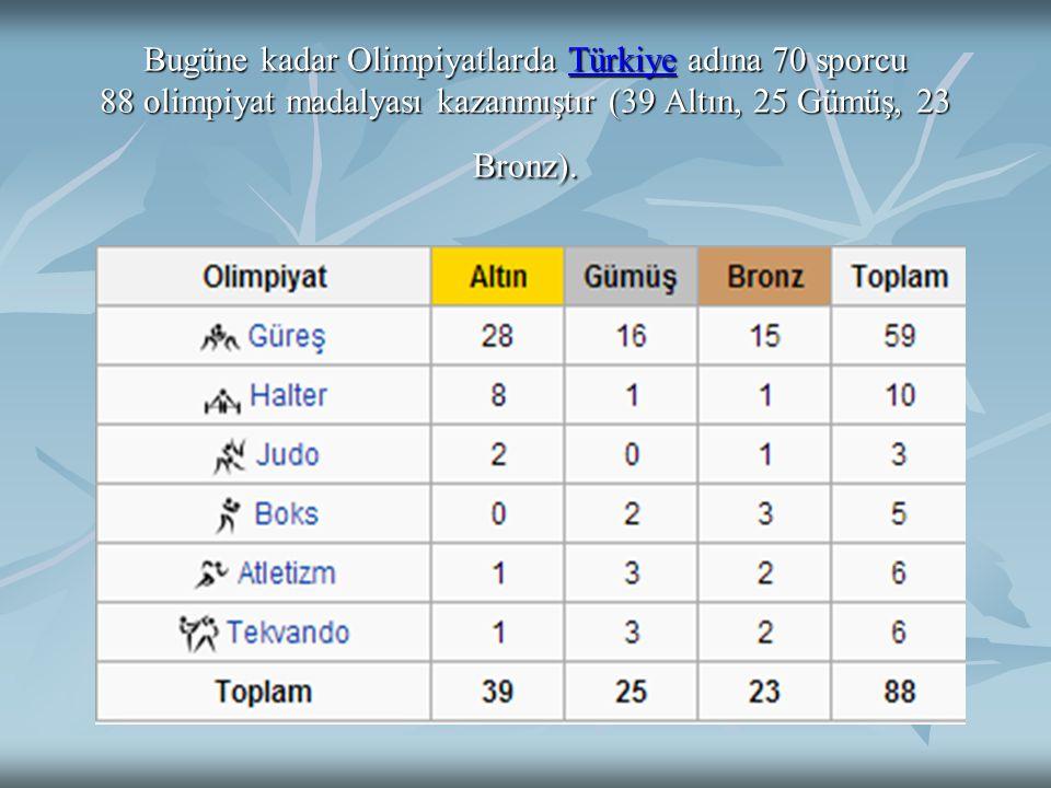 Bugüne kadar Olimpiyatlarda Türkiye adına 70 sporcu 88 olimpiyat madalyası kazanmıştır (39 Altın, 25 Gümüş, 23 Bronz).