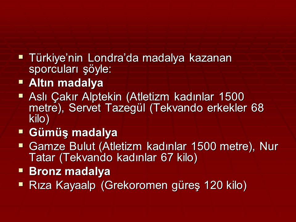  Türkiye'nin Londra'da madalya kazanan sporcuları şöyle:  Altın madalya  Aslı Çakır Alptekin (Atletizm kadınlar 1500 metre), Servet Tazegül (Tekvando erkekler 68 kilo)  Gümüş madalya  Gamze Bulut (Atletizm kadınlar 1500 metre), Nur Tatar (Tekvando kadınlar 67 kilo)  Bronz madalya  Rıza Kayaalp (Grekoromen güreş 120 kilo)