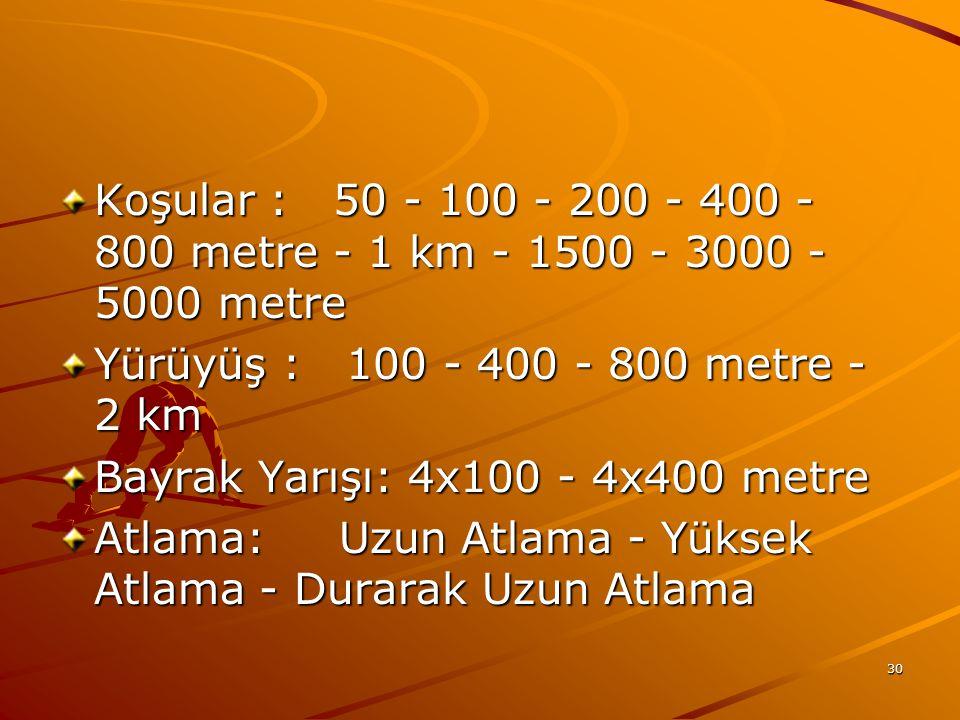 30 Koşular : 50 - 100 - 200 - 400 - 800 metre - 1 km - 1500 - 3000 - 5000 metre Koşular : 50 - 100 - 200 - 400 - 800 metre - 1 km - 1500 - 3000 - 5000