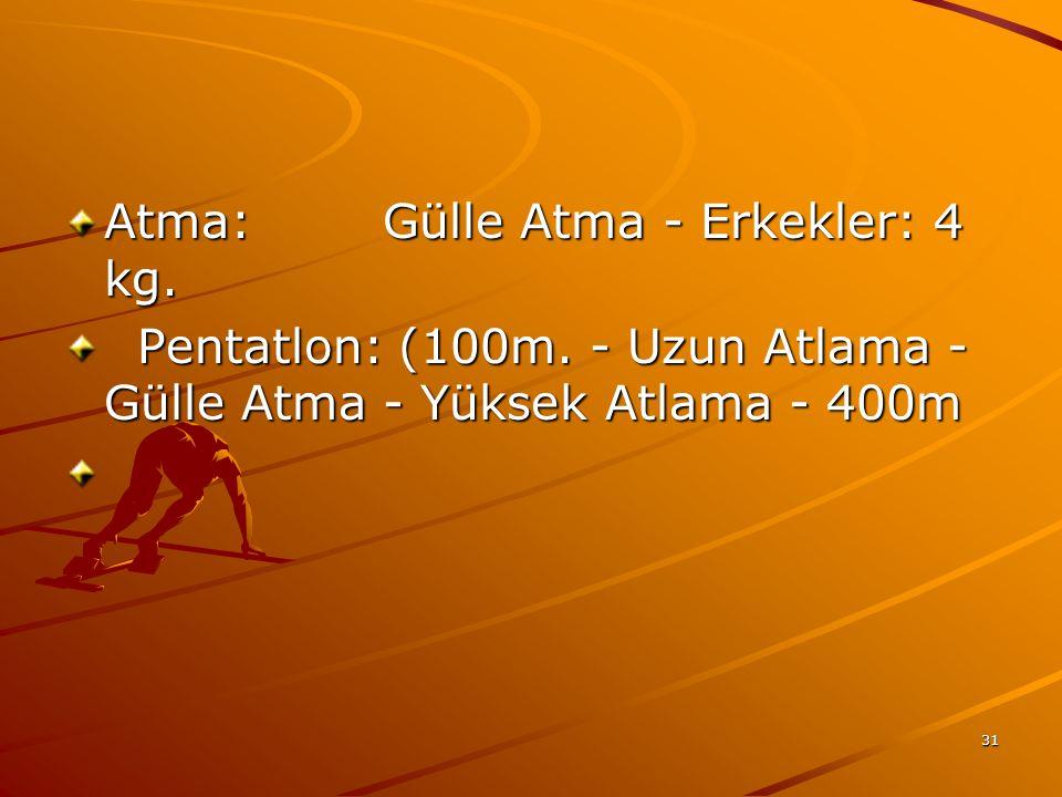31 Atma: Gülle Atma - Erkekler: 4 kg. Atma: Gülle Atma - Erkekler: 4 kg. Pentatlon: (100m. - Uzun Atlama - Gülle Atma - Yüksek Atlama - 400m Pentatlon