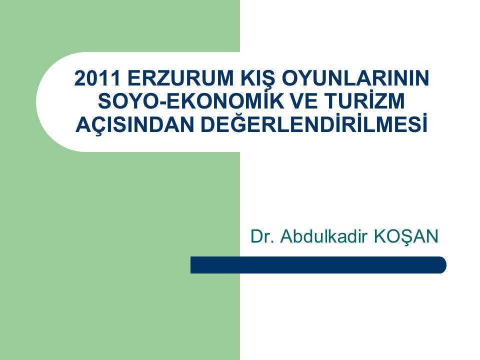 2011 ERZURUM KIŞ OYUNLARININ SOYO-EKONOMİK VE TURİZM AÇISINDAN DEĞERLENDİRİLMESİ Dr. Abdulkadir KOŞAN