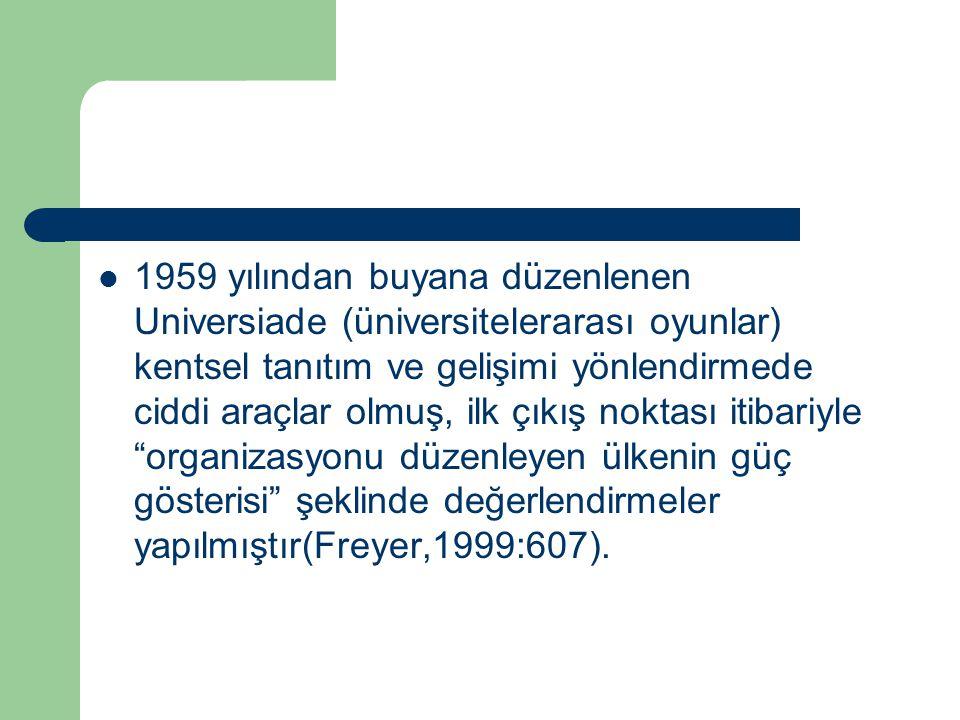 1959 yılından buyana düzenlenen Universiade (üniversitelerarası oyunlar) kentsel tanıtım ve gelişimi yönlendirmede ciddi araçlar olmuş, ilk çıkış nokt