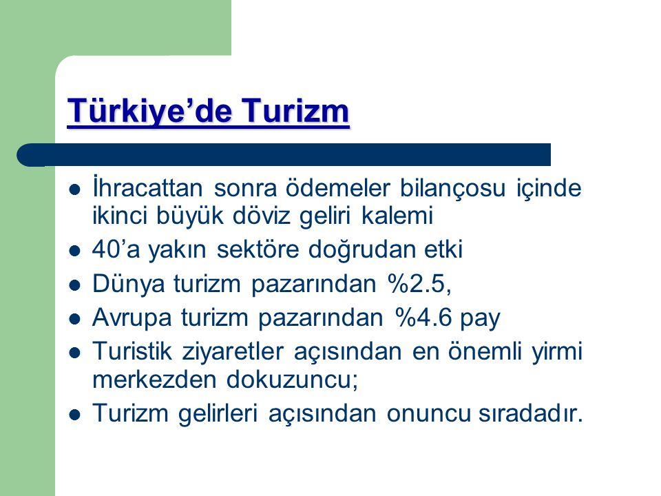 Türkiye'de Turizm İhracattan sonra ödemeler bilançosu içinde ikinci büyük döviz geliri kalemi 40'a yakın sektöre doğrudan etki Dünya turizm pazarından