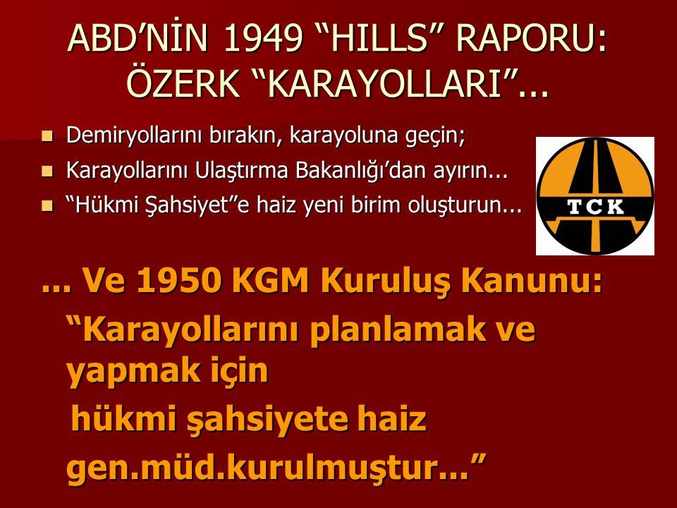 """ABD'NİN 1949 """"HILLS"""" RAPORU: ÖZERK """"KARAYOLLARI""""... Demiryollarını bırakın, karayoluna geçin; Demiryollarını bırakın, karayoluna geçin; Karayollarını"""
