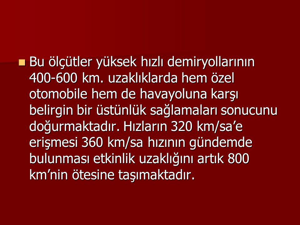Bu ölçütler yüksek hızlı demiryollarının 400-600 km. uzaklıklarda hem özel otomobile hem de havayoluna karşı belirgin bir üstünlük sağlamaları sonucun