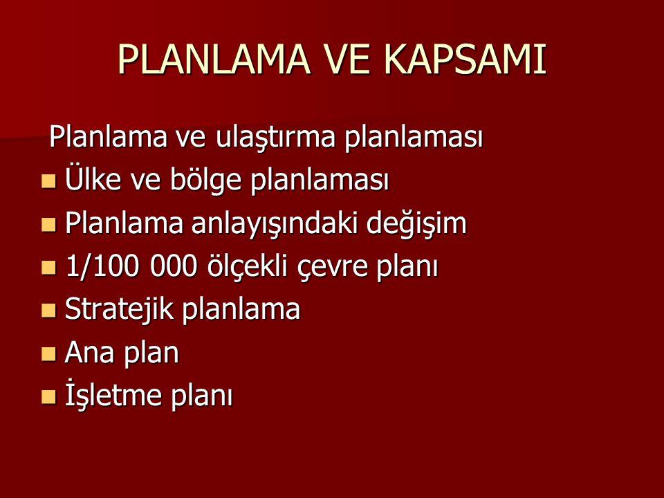 PLANLAMA VE KAPSAMI Planlama ve ulaştırma planlaması Planlama ve ulaştırma planlaması Ülke ve bölge planlaması Ülke ve bölge planlaması Planlama anlay