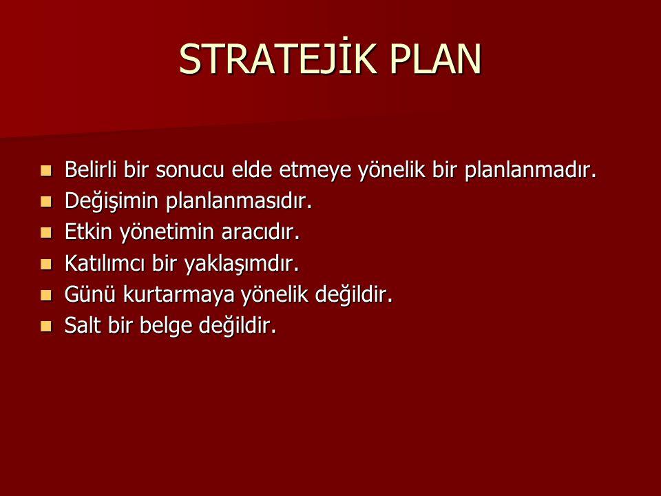 STRATEJİK PLAN Belirli bir sonucu elde etmeye yönelik bir planlanmadır. Belirli bir sonucu elde etmeye yönelik bir planlanmadır. Değişimin planlanması