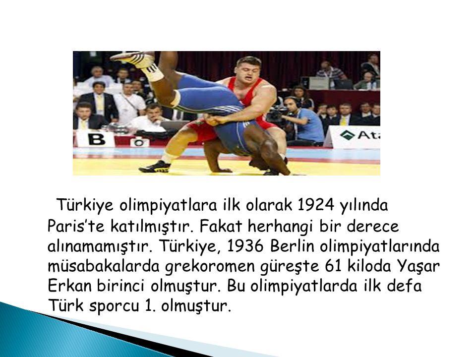 Türkiye olimpiyatlara ilk olarak 1924 yılında Paris'te katılmıştır.