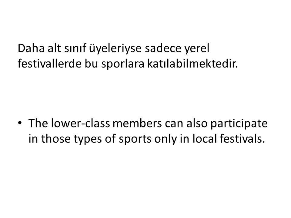 Daha alt sınıf üyeleriyse sadece yerel festivallerde bu sporlara katılabilmektedir.