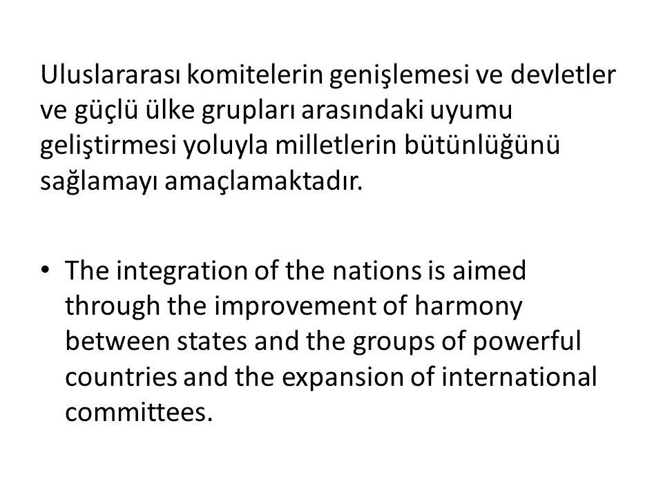 Uluslararası komitelerin genişlemesi ve devletler ve güçlü ülke grupları arasındaki uyumu geliştirmesi yoluyla milletlerin bütünlüğünü sağlamayı amaçlamaktadır.
