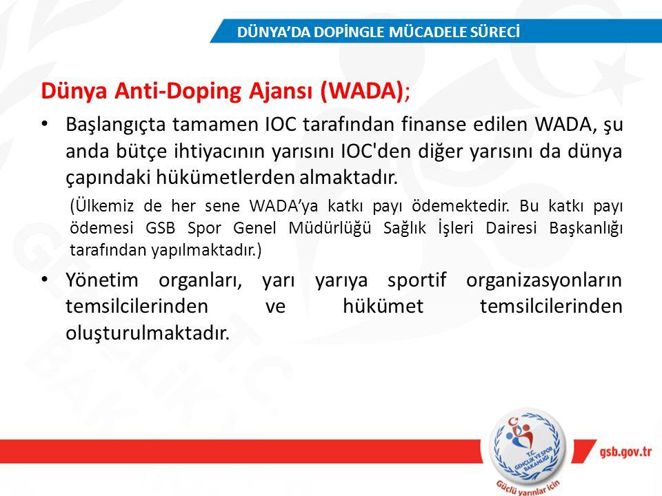 Dünya Anti-Doping Ajansı (WADA); Başlangıçta tamamen IOC tarafından finanse edilen WADA, şu anda bütçe ihtiyacının yarısını IOC'den diğer yarısını da