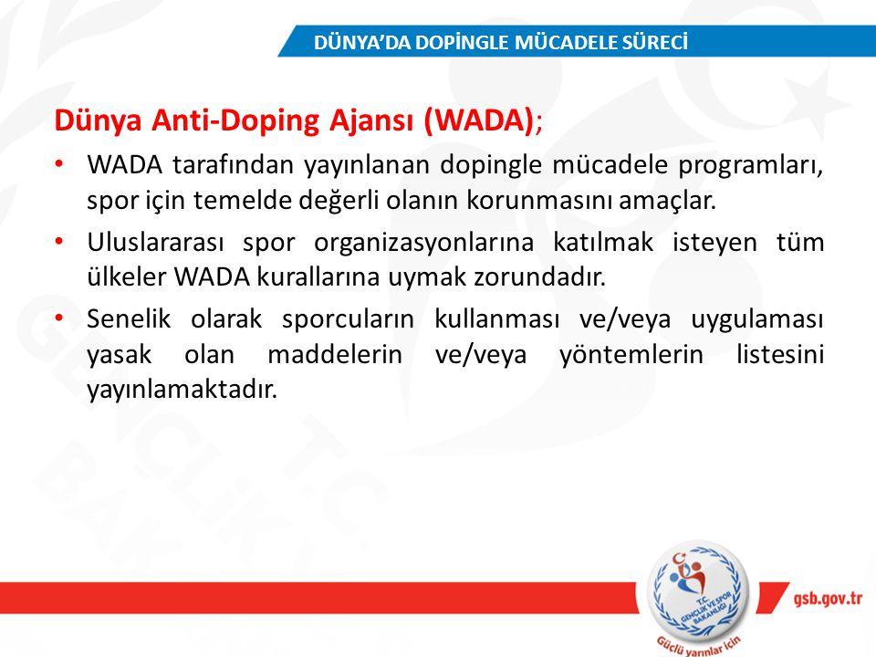Dünya Anti-Doping Ajansı (WADA); WADA tarafından yayınlanan dopingle mücadele programları, spor için temelde değerli olanın korunmasını amaçlar. Ulusl