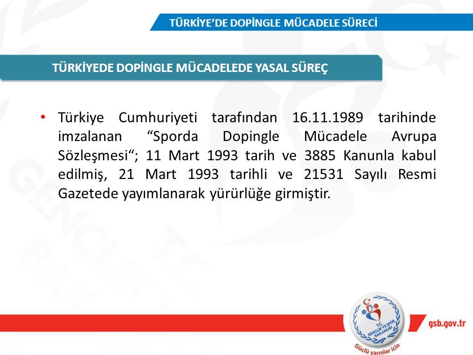 """Türkiye Cumhuriyeti tarafından 16.11.1989 tarihinde imzalanan """"Sporda Dopingle Mücadele Avrupa Sözleşmesi""""; 11 Mart 1993 tarih ve 3885 Kanunla kabul e"""