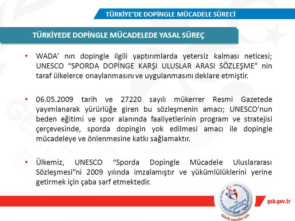 """WADA' nın dopingle ilgili yaptırımlarda yetersiz kalması neticesi; UNESCO """"SPORDA DOPİNGE KARŞI ULUSLAR ARASI SÖZLEŞME"""" nin taraf ülkelerce onaylanmas"""