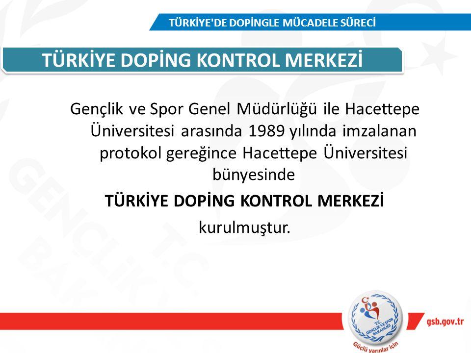 TÜRKİYE DOPİNG KONTROL MERKEZİ Gençlik ve Spor Genel Müdürlüğü ile Hacettepe Üniversitesi arasında 1989 yılında imzalanan protokol gereğince Hacettepe