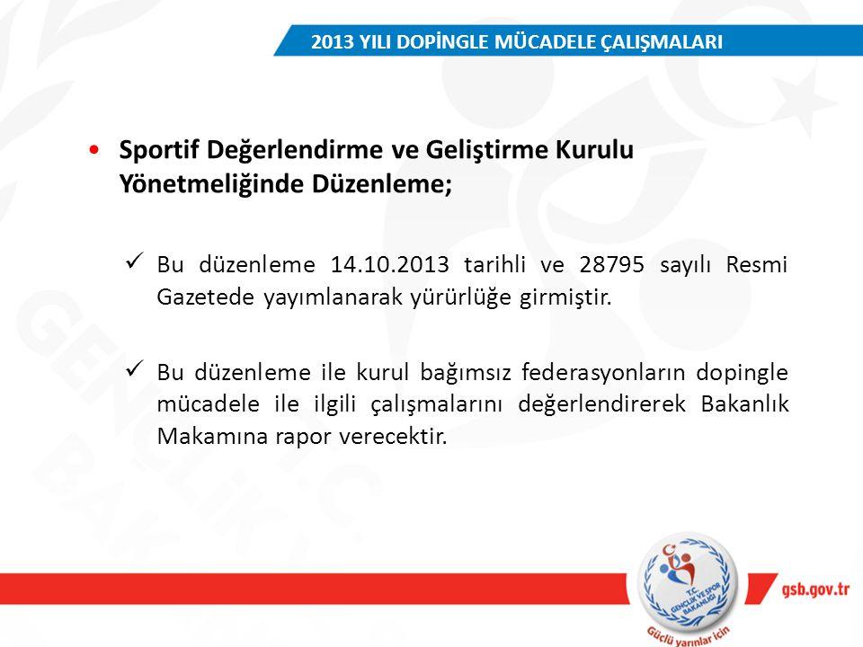 Sportif Değerlendirme ve Geliştirme Kurulu Yönetmeliğinde Düzenleme; Bu düzenleme 14.10.2013 tarihli ve 28795 sayılı Resmi Gazetede yayımlanarak yürür