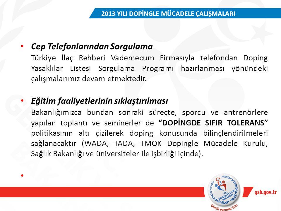 Cep Telefonlarından Sorgulama Türkiye İlaç Rehberi Vademecum Firmasıyla telefondan Doping Yasaklılar Listesi Sorgulama Programı hazırlanması yönündeki