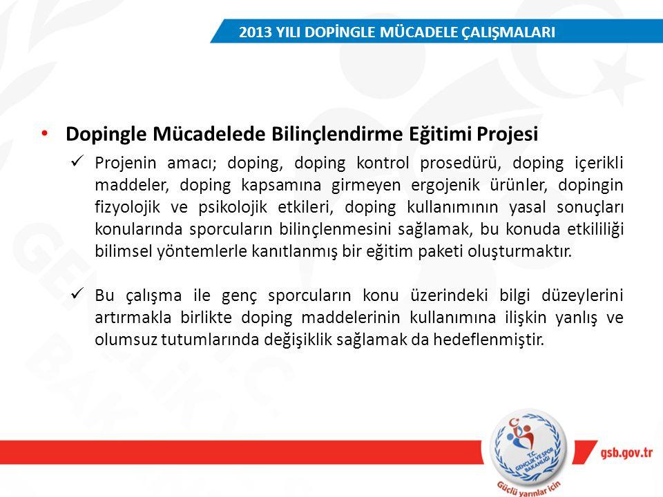 Dopingle Mücadelede Bilinçlendirme Eğitimi Projesi Projenin amacı; doping, doping kontrol prosedürü, doping içerikli maddeler, doping kapsamına girmey