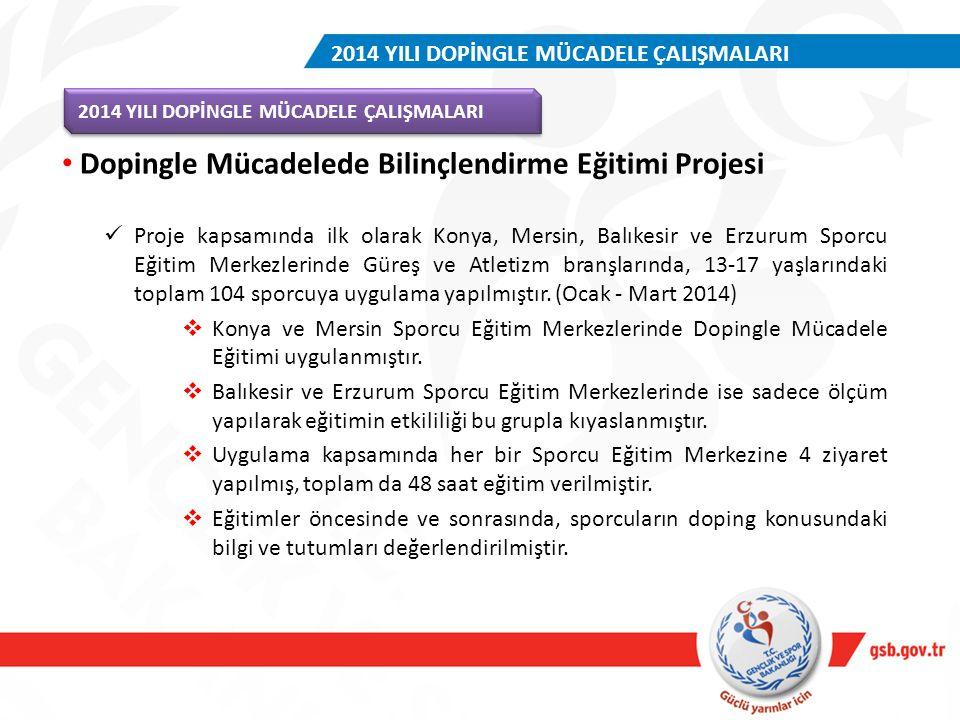 Proje kapsamında ilk olarak Konya, Mersin, Balıkesir ve Erzurum Sporcu Eğitim Merkezlerinde Güreş ve Atletizm branşlarında, 13-17 yaşlarındaki toplam