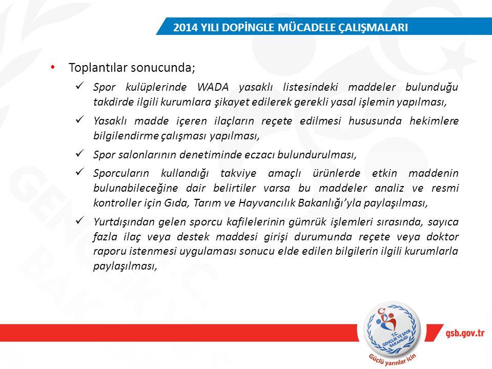 2014 YILI DOPİNGLE MÜCADELE ÇALIŞMALARI Toplantılar sonucunda; Spor kulüplerinde WADA yasaklı listesindeki maddeler bulunduğu takdirde ilgili kurumlar