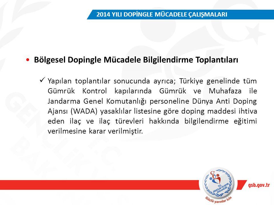 Bölgesel Dopingle Mücadele Bilgilendirme Toplantıları Yapılan toplantılar sonucunda ayrıca; Türkiye genelinde tüm Gümrük Kontrol kapılarında Gümrük ve