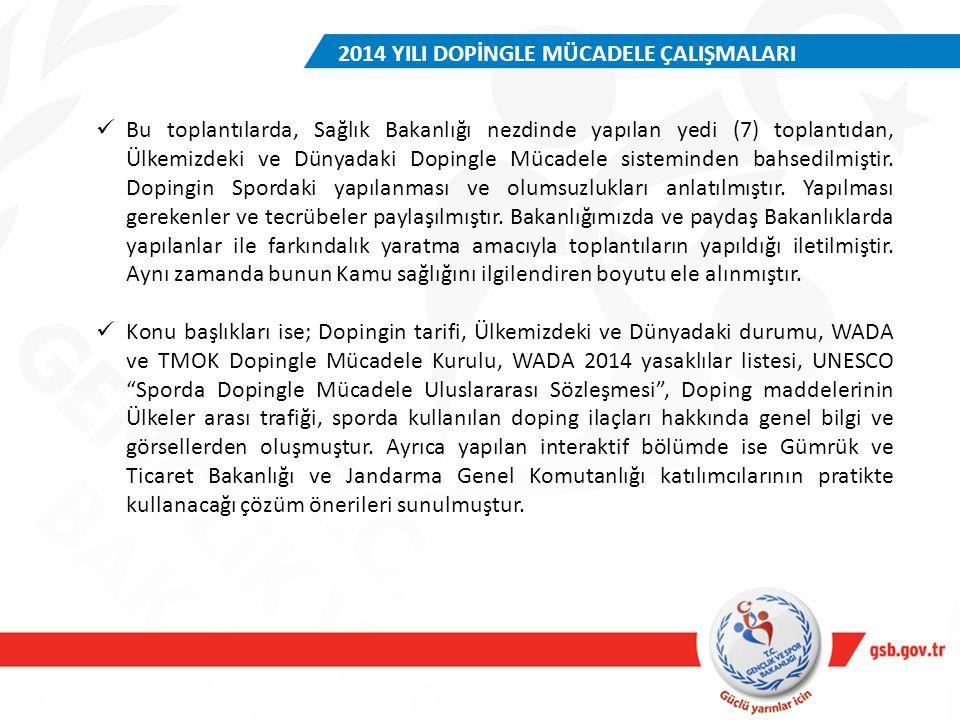 Bu toplantılarda, Sağlık Bakanlığı nezdinde yapılan yedi (7) toplantıdan, Ülkemizdeki ve Dünyadaki Dopingle Mücadele sisteminden bahsedilmiştir. Dopin
