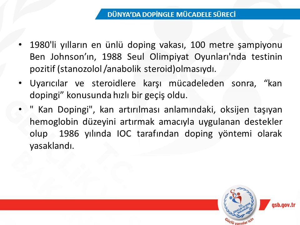 1980'li yılların en ünlü doping vakası, 100 metre şampiyonu Ben Johnson'ın, 1988 Seul Olimpiyat Oyunları'nda testinin pozitif (stanozolol /anabolik st