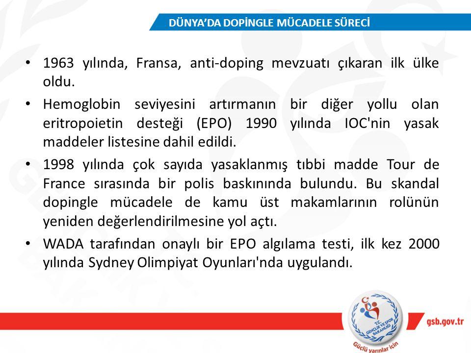 1963 yılında, Fransa, anti-doping mevzuatı çıkaran ilk ülke oldu. Hemoglobin seviyesini artırmanın bir diğer yollu olan eritropoietin desteği (EPO) 19
