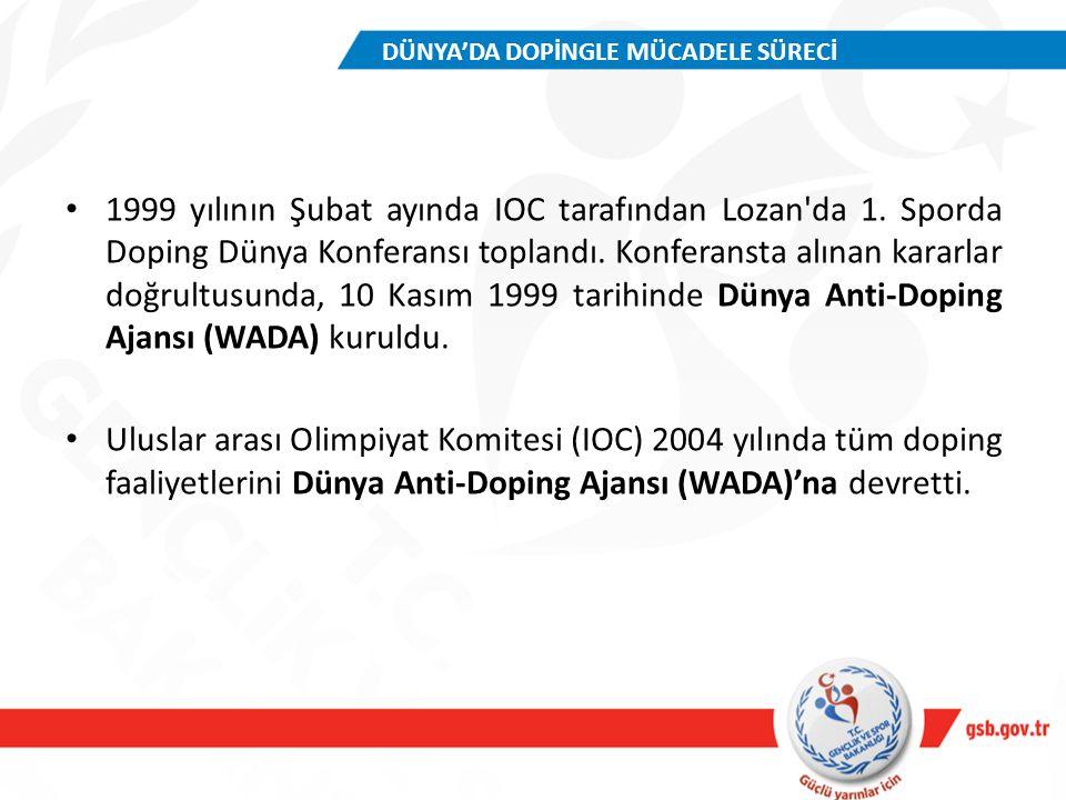 1999 yılının Şubat ayında IOC tarafından Lozan'da 1. Sporda Doping Dünya Konferansı toplandı. Konferansta alınan kararlar doğrultusunda, 10 Kasım 1999