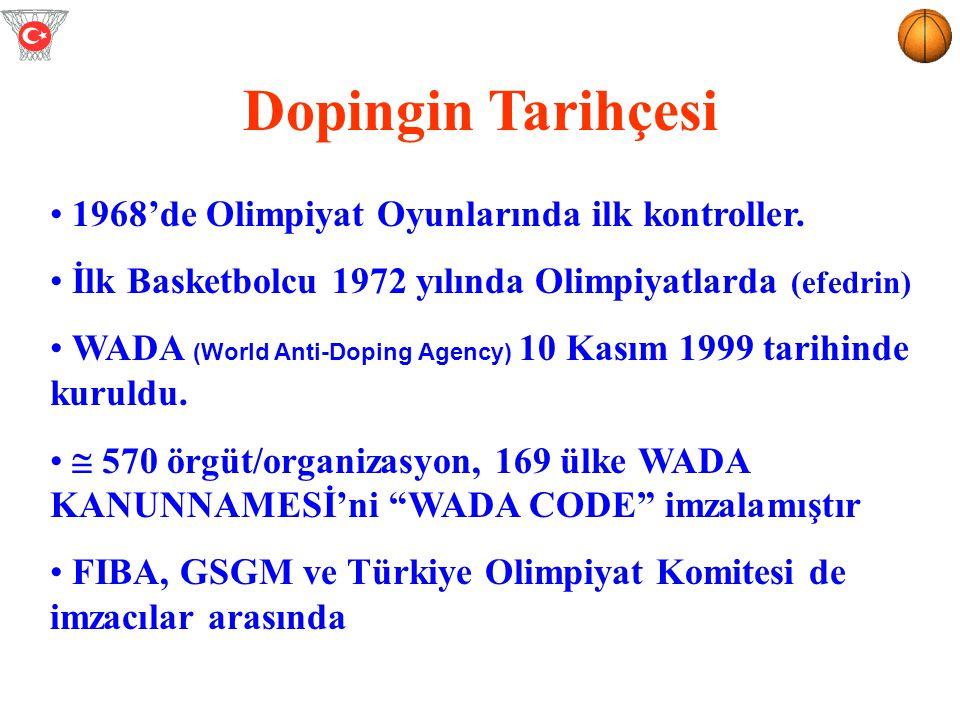 Dopingin Tarihçesi 1968'de Olimpiyat Oyunlarında ilk kontroller. İlk Basketbolcu 1972 yılında Olimpiyatlarda (efedrin) WADA (World Anti-Doping Agency)