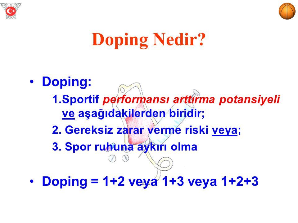 Doping: 1.Sportif performansı arttırma potansiyeli ve aşağıdakilerden biridir; 2. Gereksiz zarar verme riski veya; 3. Spor ruhuna aykırı olma Doping =