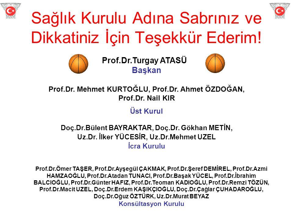 Sağlık Kurulu Adına Sabrınız ve Dikkatiniz İçin Teşekkür Ederim! Prof.Dr.Turgay ATASÜ Başkan Prof.Dr. Mehmet KURTOĞLU, Prof.Dr. Ahmet ÖZDOĞAN, Prof.Dr