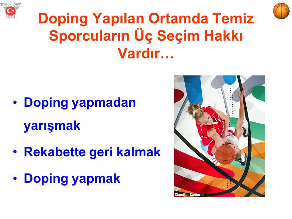 Doping Yapılan Ortamda Temiz Sporcuların Üç Seçim Hakkı Vardır… Doping yapmadan yarışmak Rekabette geri kalmak Doping yapmak