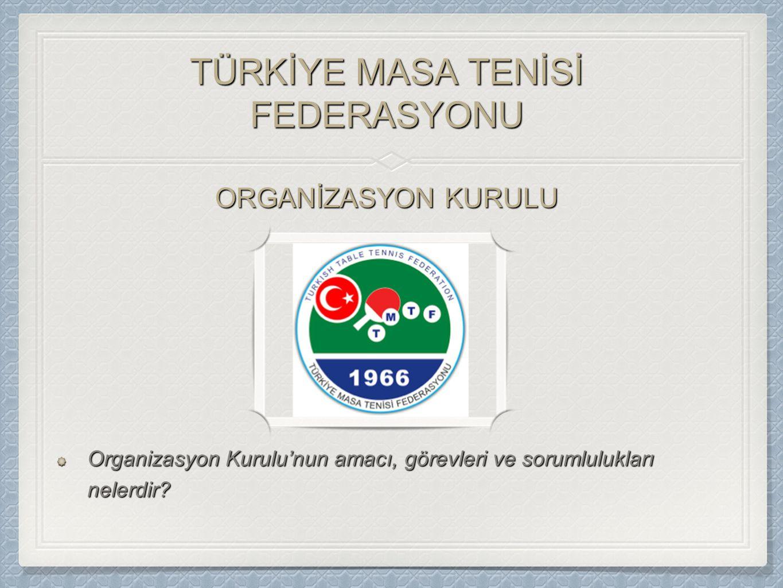 TÜRKİYE MASA TENİSİ FEDERASYONU Organizasyon Kurulu'nun amacı, görevleri ve sorumlulukları nelerdir.