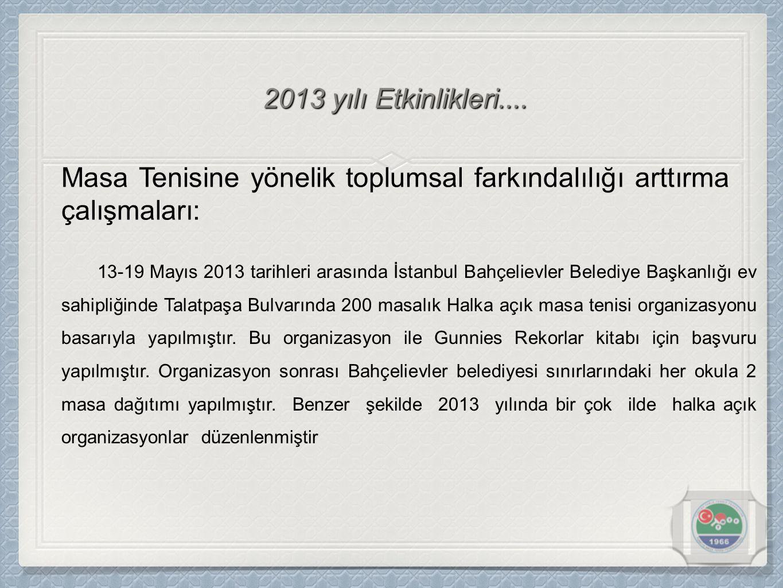 Masa Tenisine yönelik toplumsal farkındalılığı arttırma çalışmaları: 13-19 Mayıs 2013 tarihleri arasında İstanbul Bahçelievler Belediye Başkanlığı ev sahipliğinde Talatpaşa Bulvarında 200 masalık Halka açık masa tenisi organizasyonu basarıyla yapılmıştır.