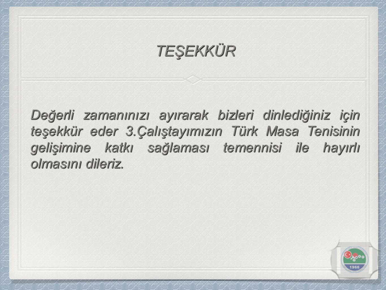 Değerli zamanınızı ayırarak bizleri dinlediğiniz için teşekkür eder 3.Çalıştayımızın Türk Masa Tenisinin gelişimine katkı sağlaması temennisi ile hayırlı olmasını dileriz.