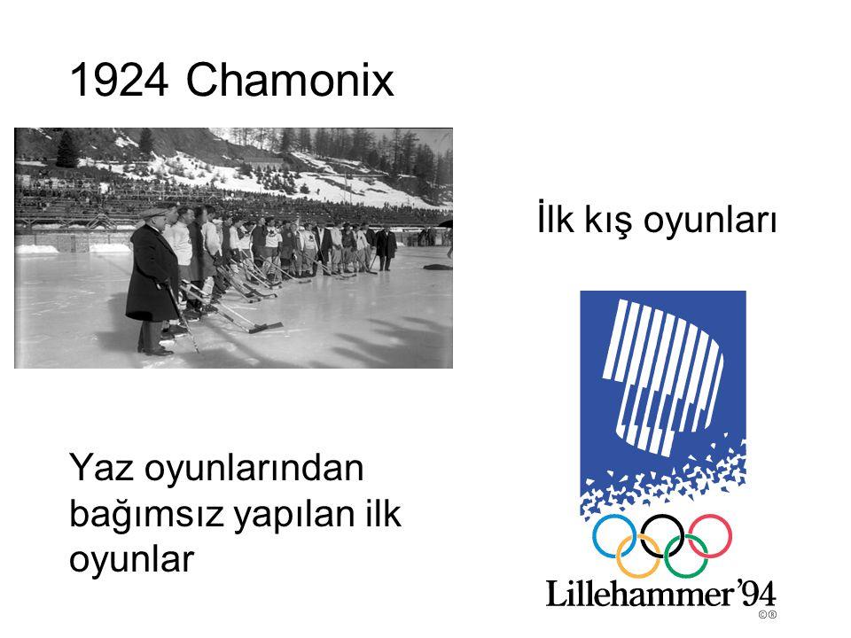 1924 Chamonix İlk kış oyunları Yaz oyunlarından bağımsız yapılan ilk oyunlar
