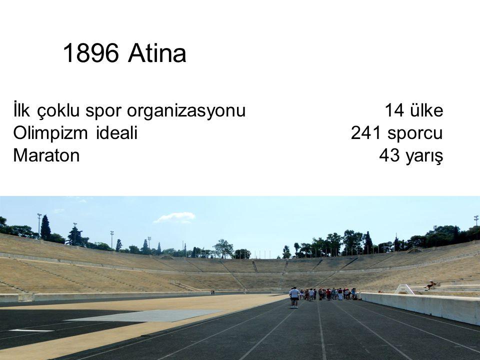 1896 Atina 14 ülke 241 sporcu 43 yarış İlk çoklu spor organizasyonu Olimpizm ideali Maraton